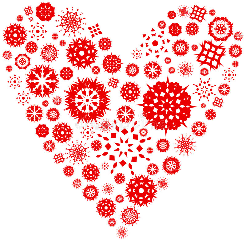 Corazón de los copos de nieve libre illustration