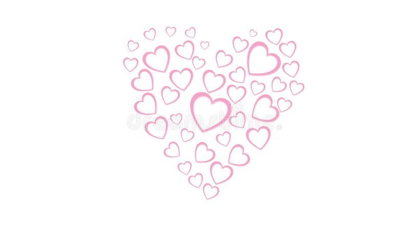 Corazón de los corazones festivos del rosa hermoso del extracto hechos del papel coloreado para el día de tarjeta del día de San  libre illustration