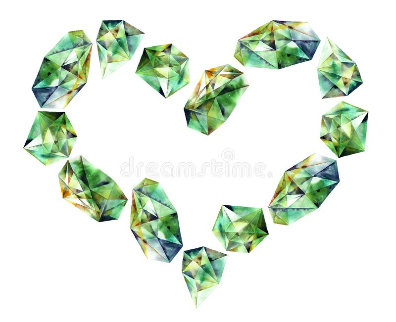 Corazón de los diamantes de la acuarela ilustración del vector