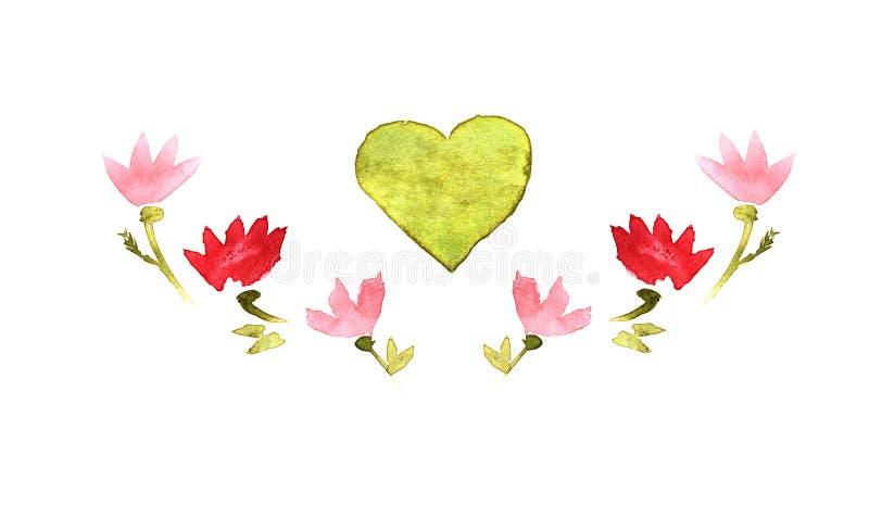 Corazón de los elementos del graphyc de la acuarela y flover tres ilustración del vector