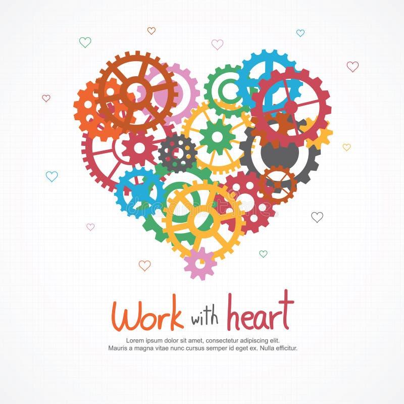 Corazón de los engranajes para el trabajo en equipo y amor en trabajo libre illustration