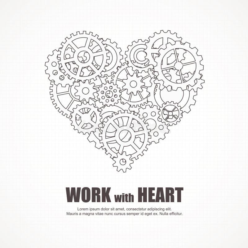 Corazón de los engranajes para el trabajo en equipo y amor en trabajo stock de ilustración