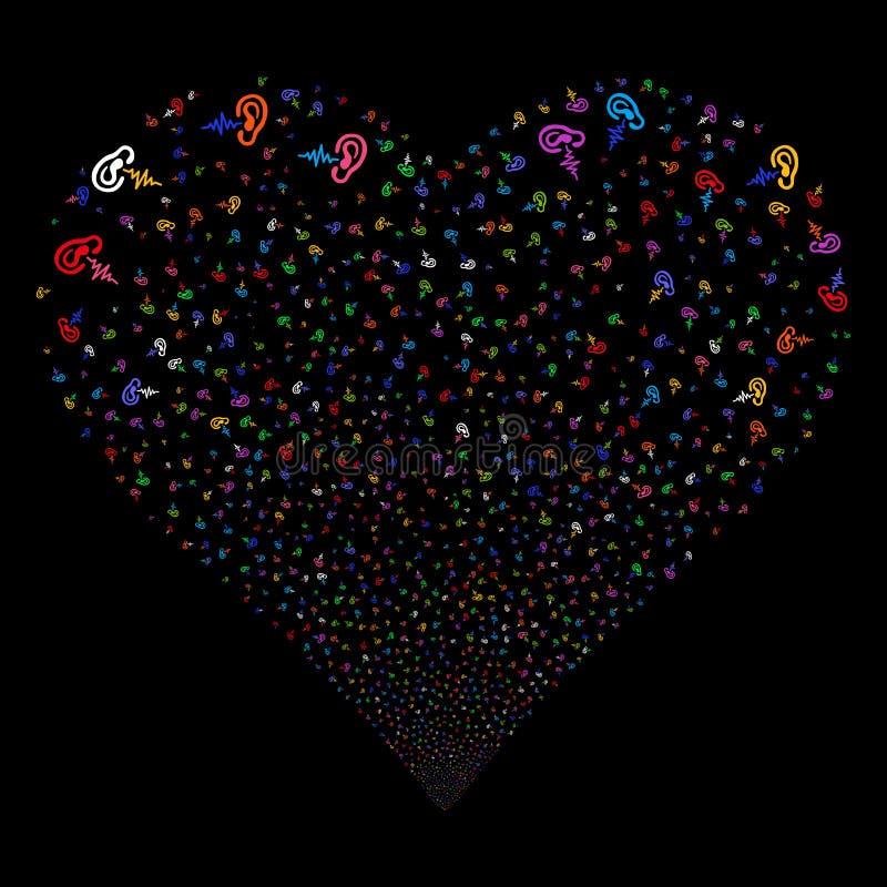 Corazón de los fuegos artificiales de la audiencia ilustración del vector