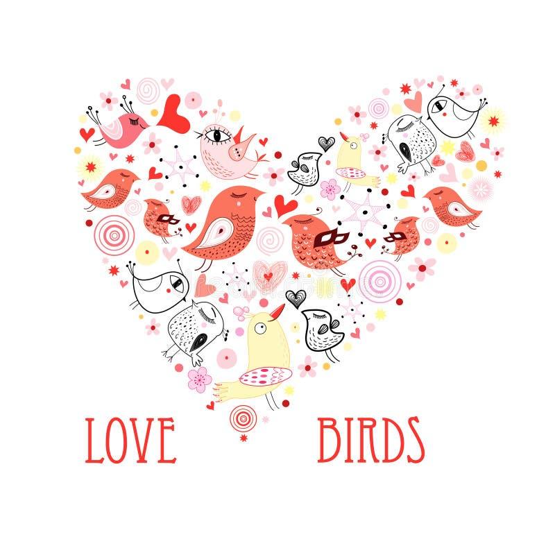 Corazón de los pájaros del amor stock de ilustración
