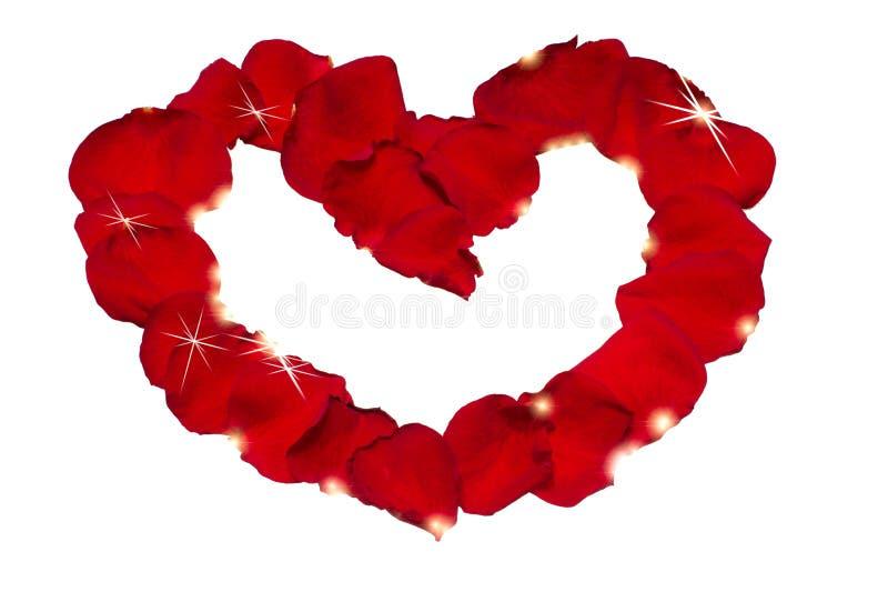 Corazón de los pétalos de Rose con resplandor brillante fotos de archivo libres de regalías
