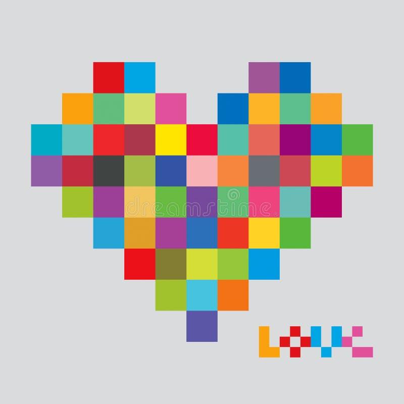 Corazón de los pixeles del color Pedazo del corazón ilustración del vector