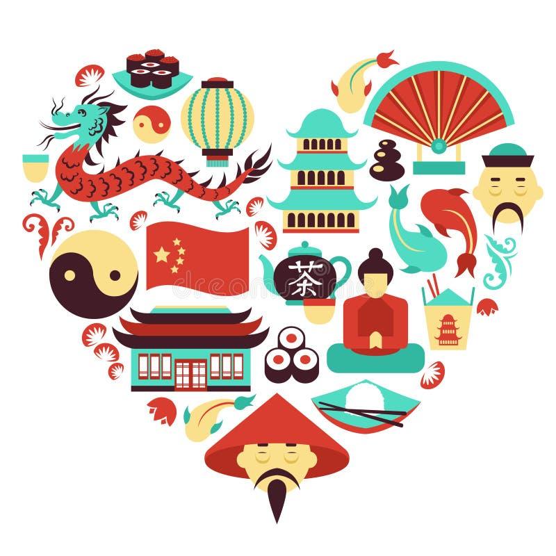 Corazón de los símbolos de China ilustración del vector