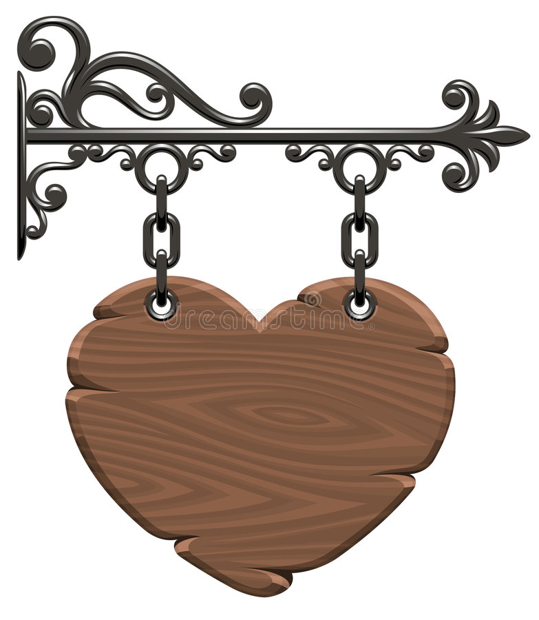 Corazón de madera stock de ilustración
