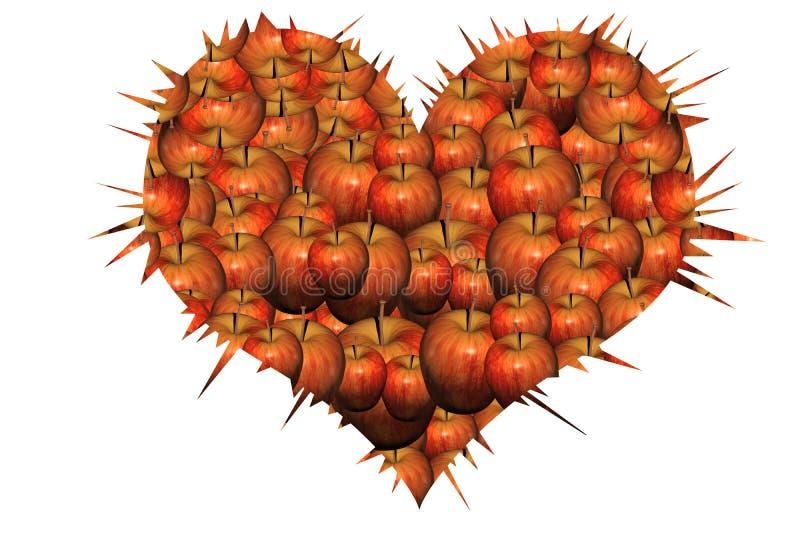 Corazón de manzanas fotos de archivo