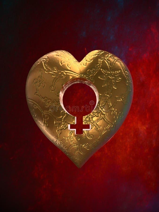 Corazón de oro con símbolo femenino stock de ilustración