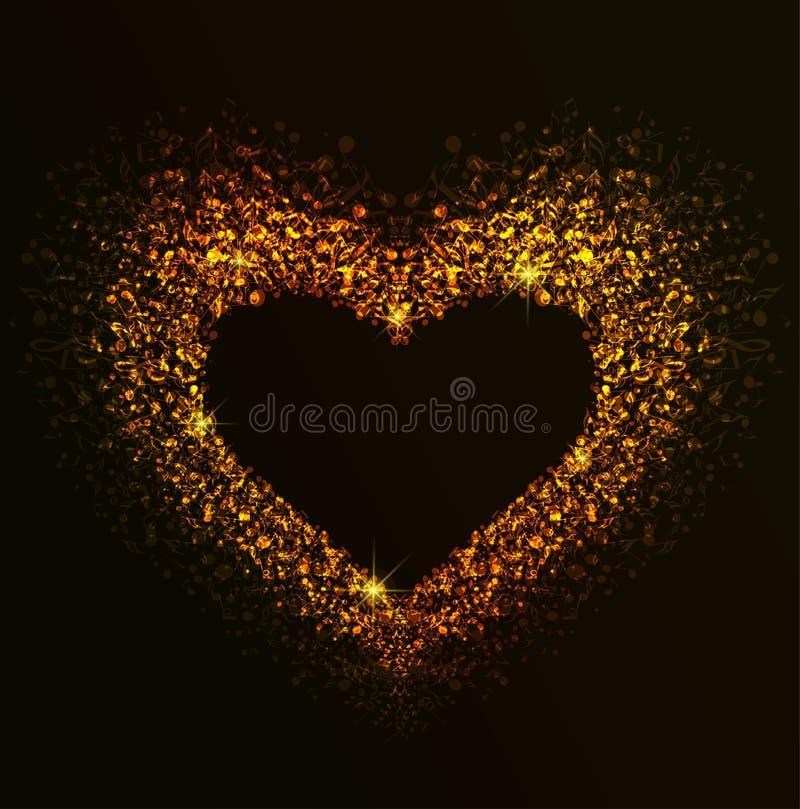 Corazón de oro de notas ilustración del vector