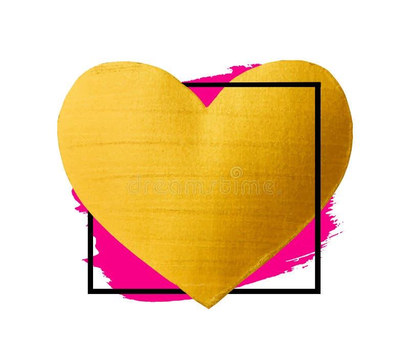 Corazón de oro del movimiento del cepillo del vector Mancha de la pintura de la textura de la acuarela aislada en blanco Fondo pi ilustración del vector