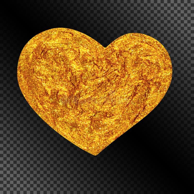 Corazón de oro que brilla realista para la decoración celebradora libre illustration
