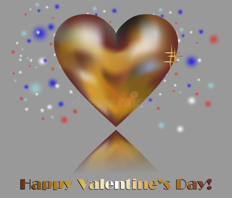 Corazón de oro y el día de tarjeta del día de San Valentín feliz ilustración del vector