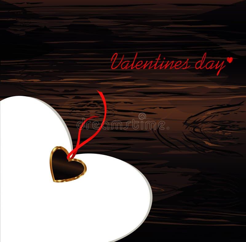 Corazón de papel con un arco y una cinta rojos Día del `s de la tarjeta del día de San Valentín Tarjeta de felicitación Espacio v ilustración del vector