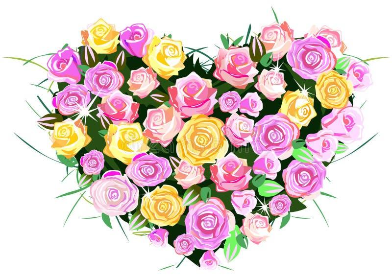 Corazón de rosas ilustración del vector