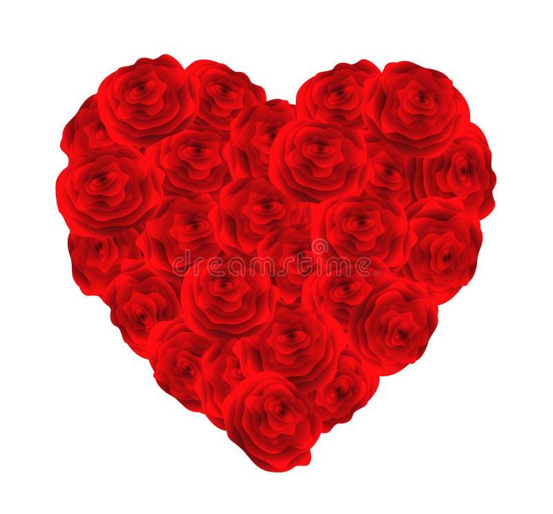 Corazón de rosas rojas. ilustración del vector
