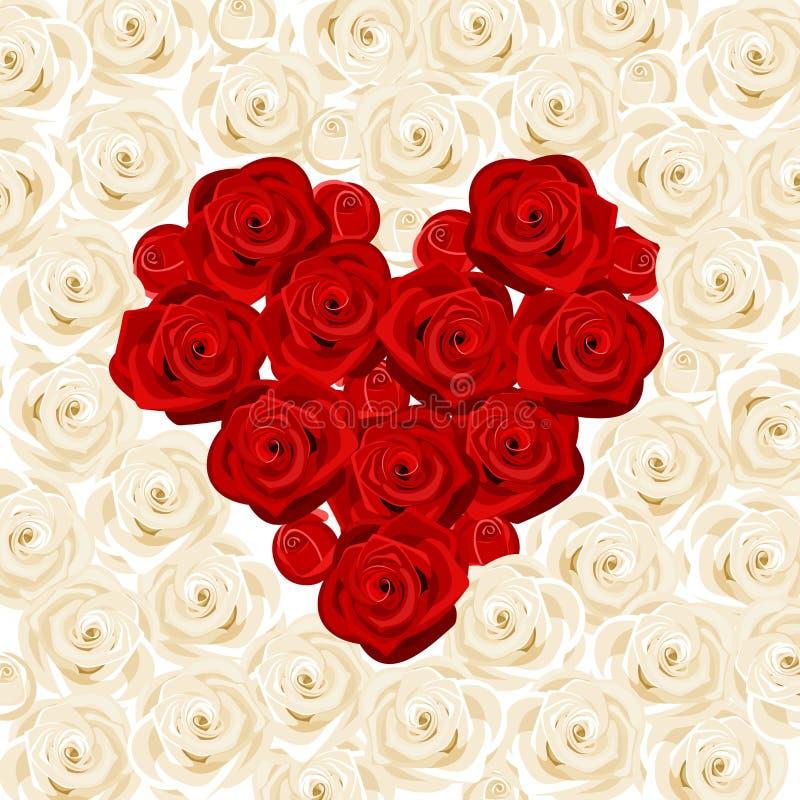 Corazón de rosas rojas en las rosas blancas. libre illustration