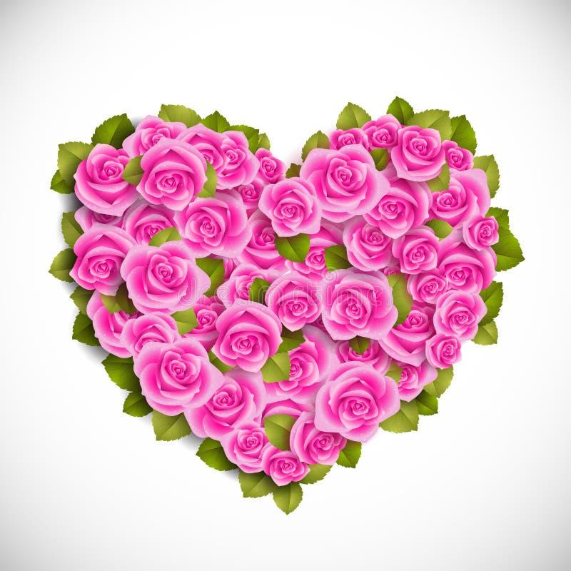 Corazón de rosas rosadas stock de ilustración