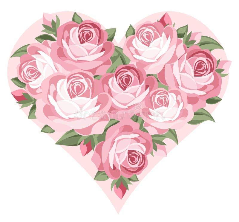 Corazón de rosas rosadas. stock de ilustración