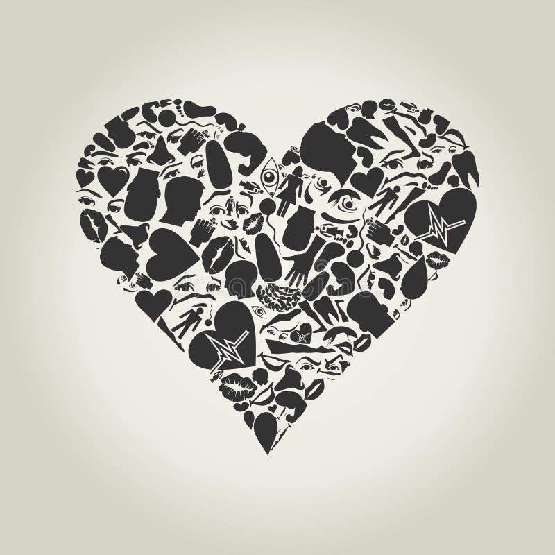 Corazón de una parte de una carrocería ilustración del vector