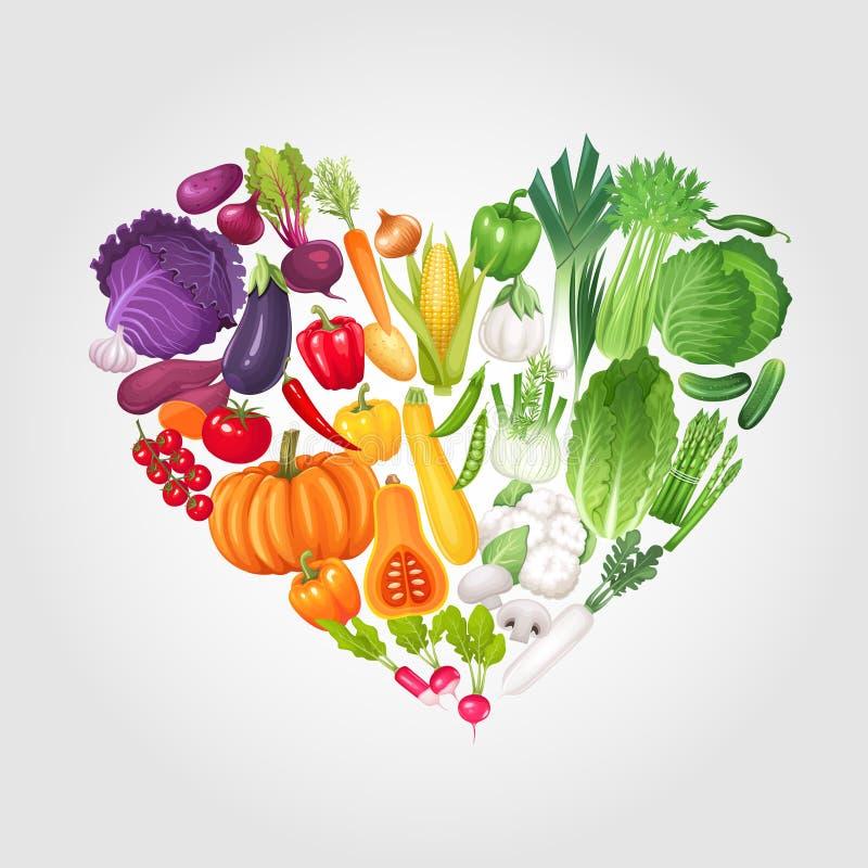 Corazón de verduras ilustración del vector