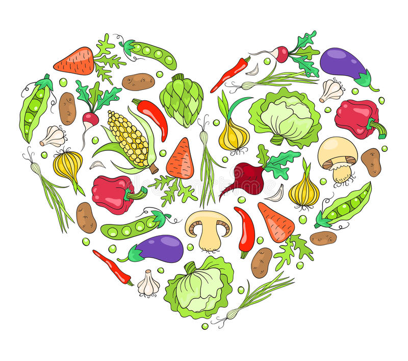 Corazón de verduras en blanco libre illustration