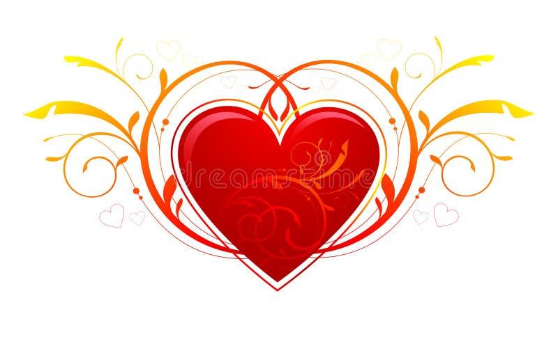 Corazón, decoraciones del día de tarjeta del día de San Valentín stock de ilustración
