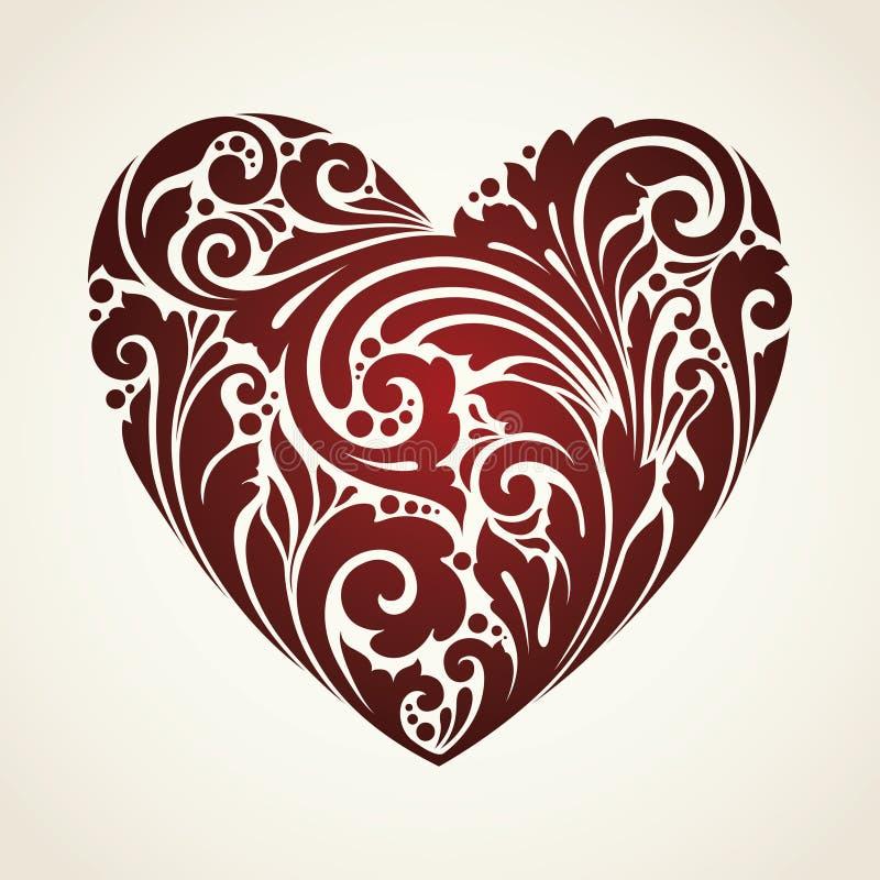 Corazón decorativo del símbolo del vintage ornamental stock de ilustración