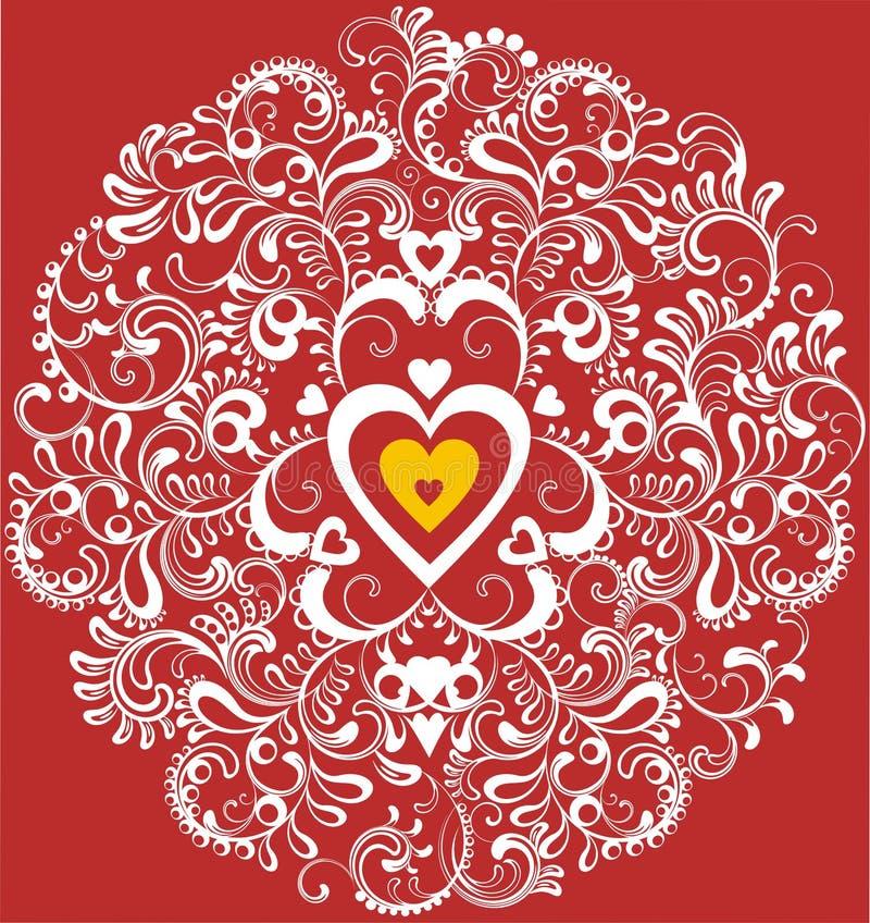 Corazón decorativo en el círculo ornamental blanco stock de ilustración