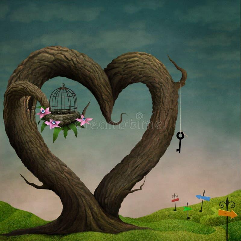 Corazón del árbol stock de ilustración
