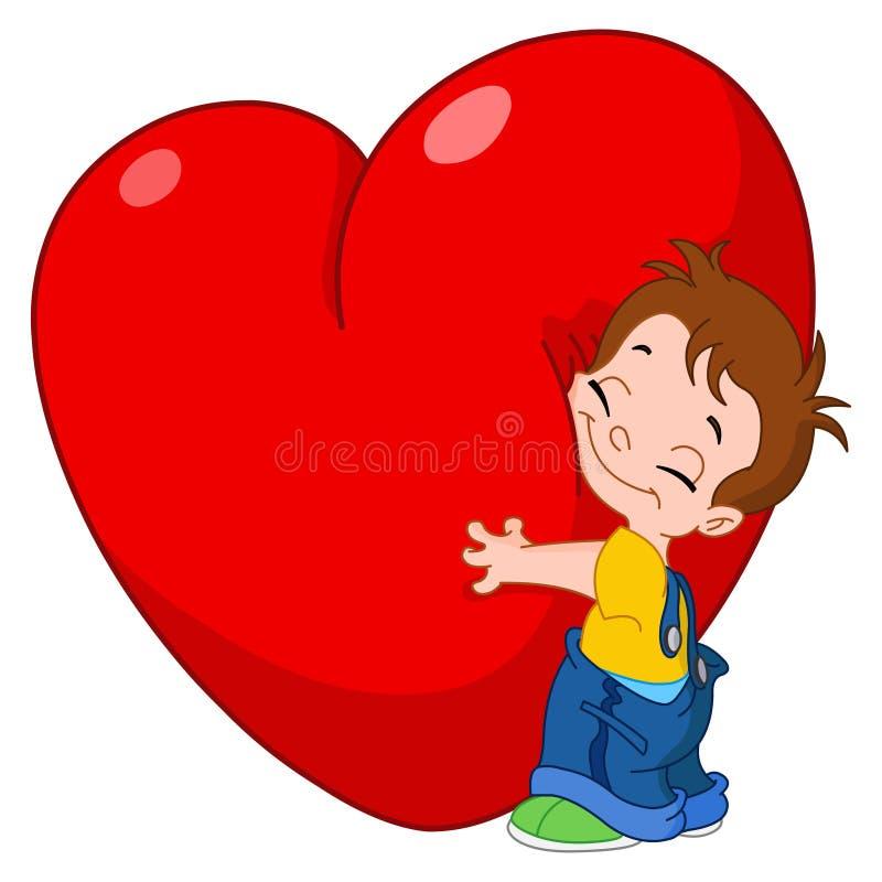 Corazón del abrazo del cabrito stock de ilustración