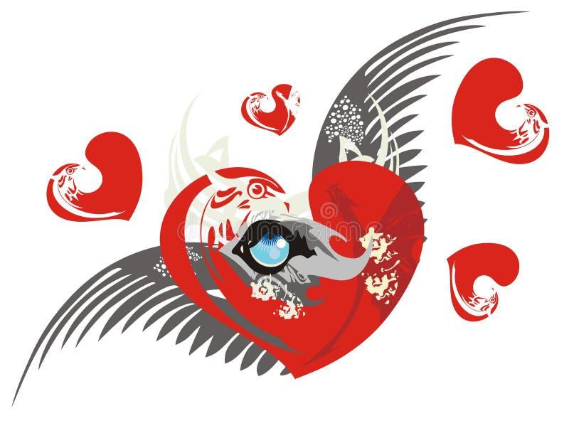 Corazón del amor con el ojo y las alas del lobo ilustración del vector