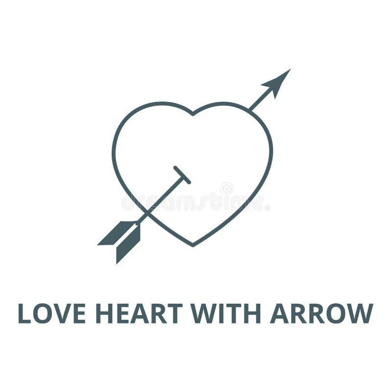 Corazón del amor con la línea icono, concepto linear, muestra del esquema, símbolo del vector de la flecha libre illustration