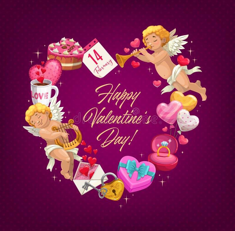 Corazón del amor de Valentine Day con los regalos Tarjeta de felicitación ilustración del vector