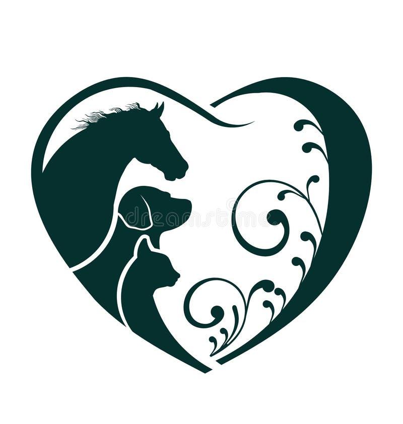 Corazón del amor del caballo, del perro y del gato stock de ilustración