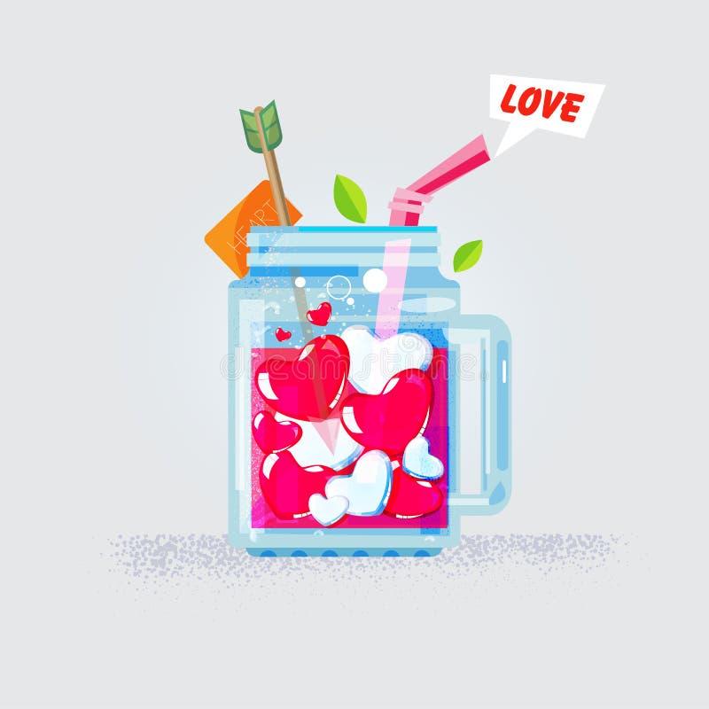 Corazón del amor en tarro de albañil amor y concepto del jugo Enhorabuena ilustración del vector