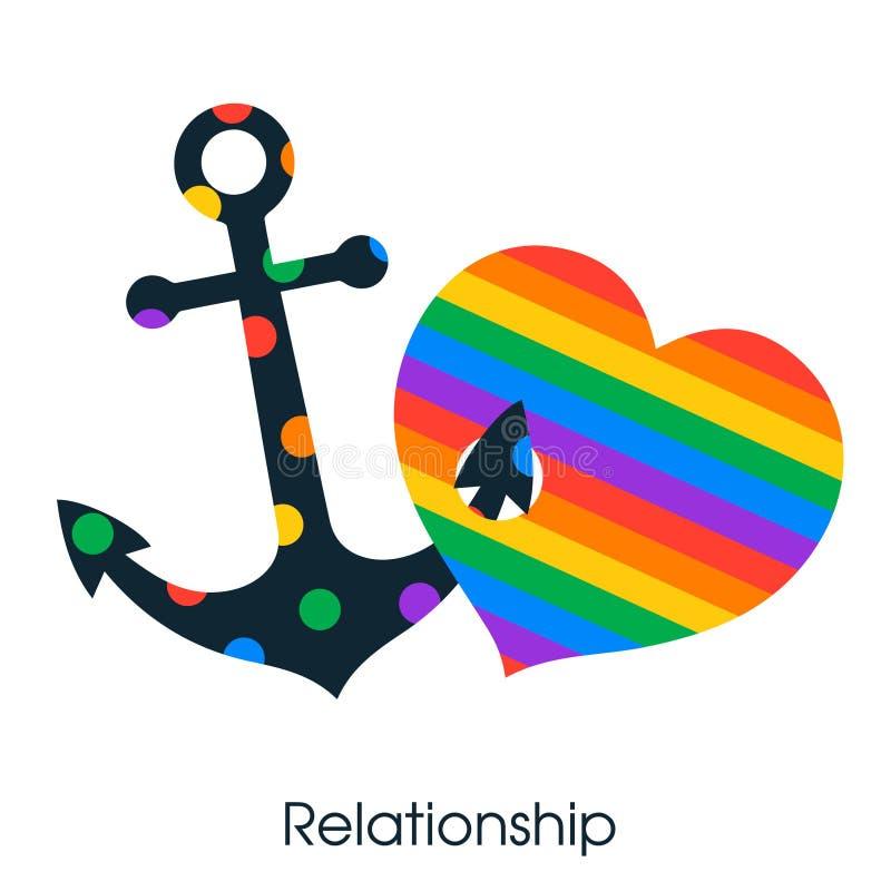 Corazón del amor del símbolo y lgbt del ancla ilustración del vector