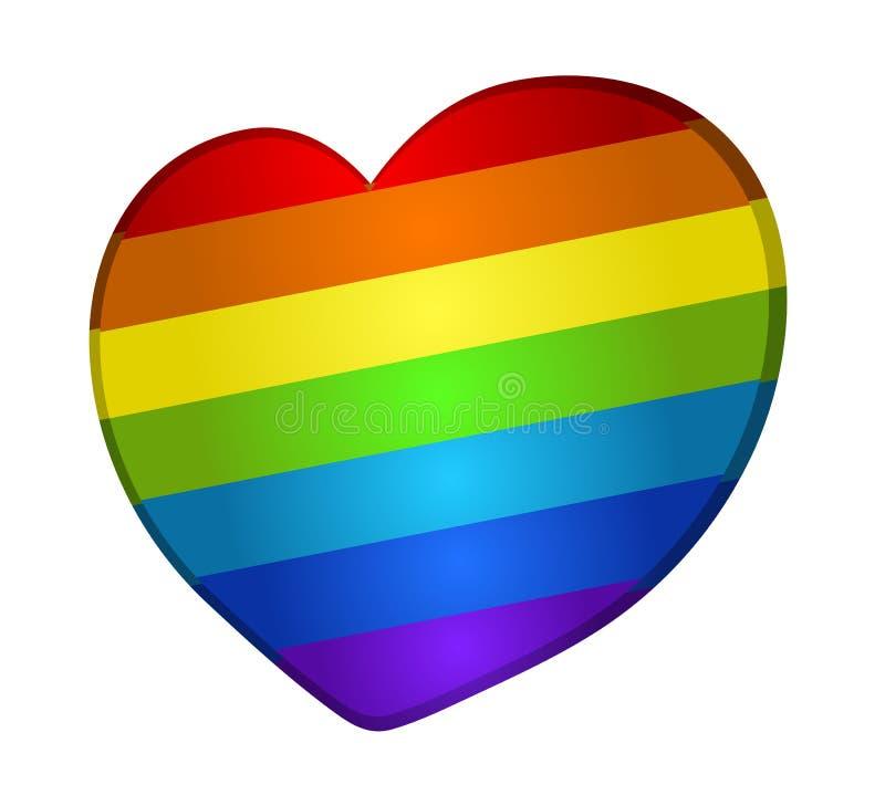 Corazón del arco iris del vector stock de ilustración
