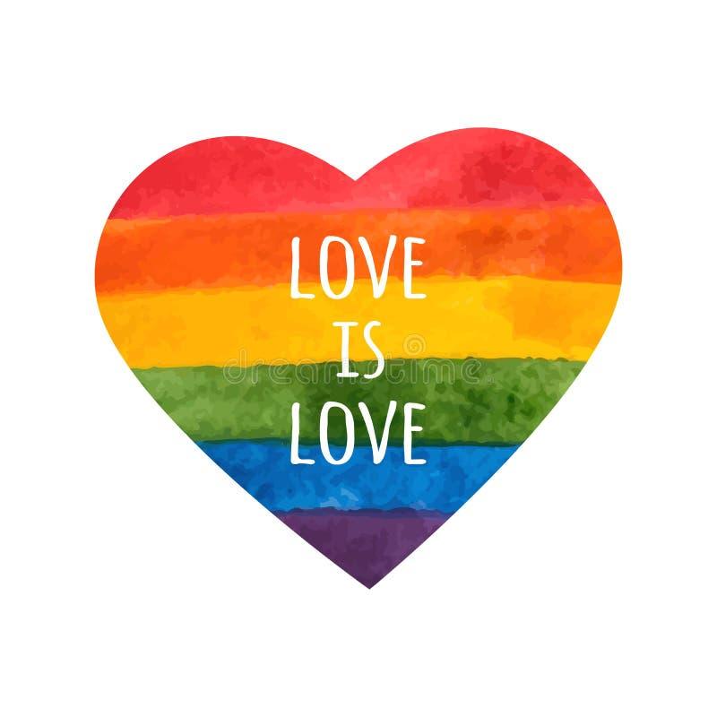 Corazón del arco iris El amor es amor - lema del orgullo Corazón de LGBT Arco iris pintado a mano Tarjeta del día de la toleranci stock de ilustración