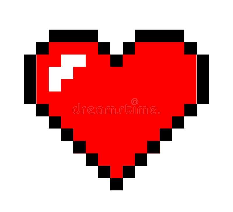 Corazón del arte del pixel ilustración del vector