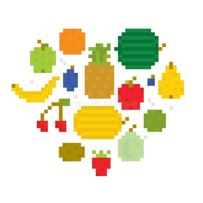 Corazón del arte i del pixel de las frutas libre illustration