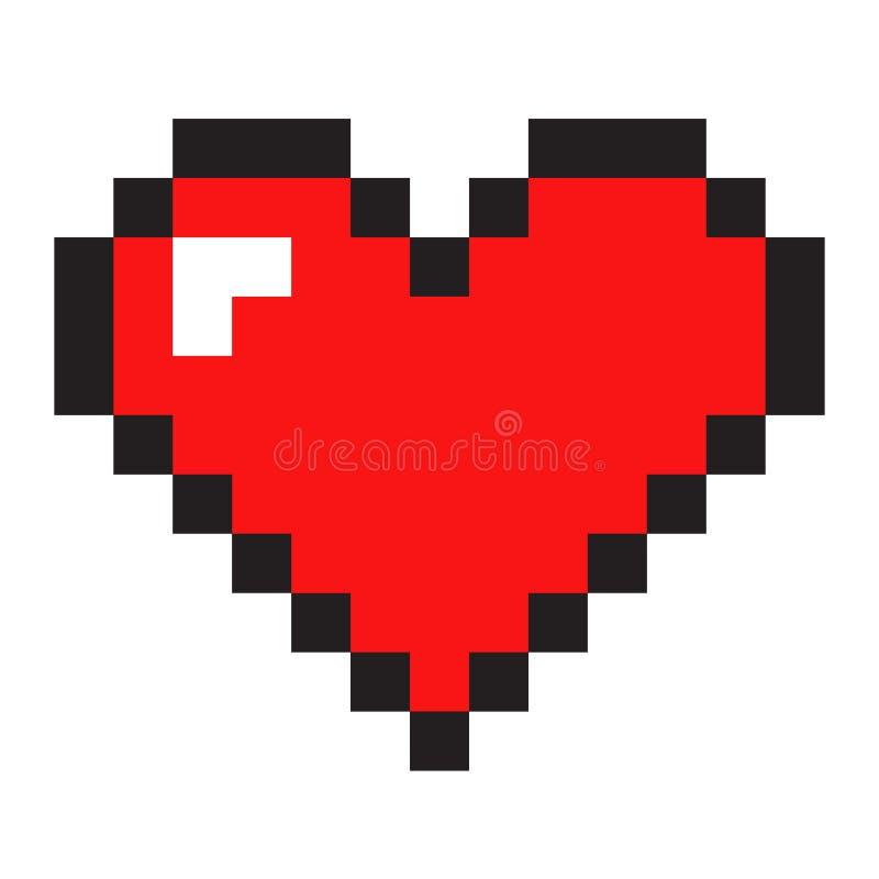 Corazón del arte del pixel aislado en el fondo blanco imágenes de archivo libres de regalías