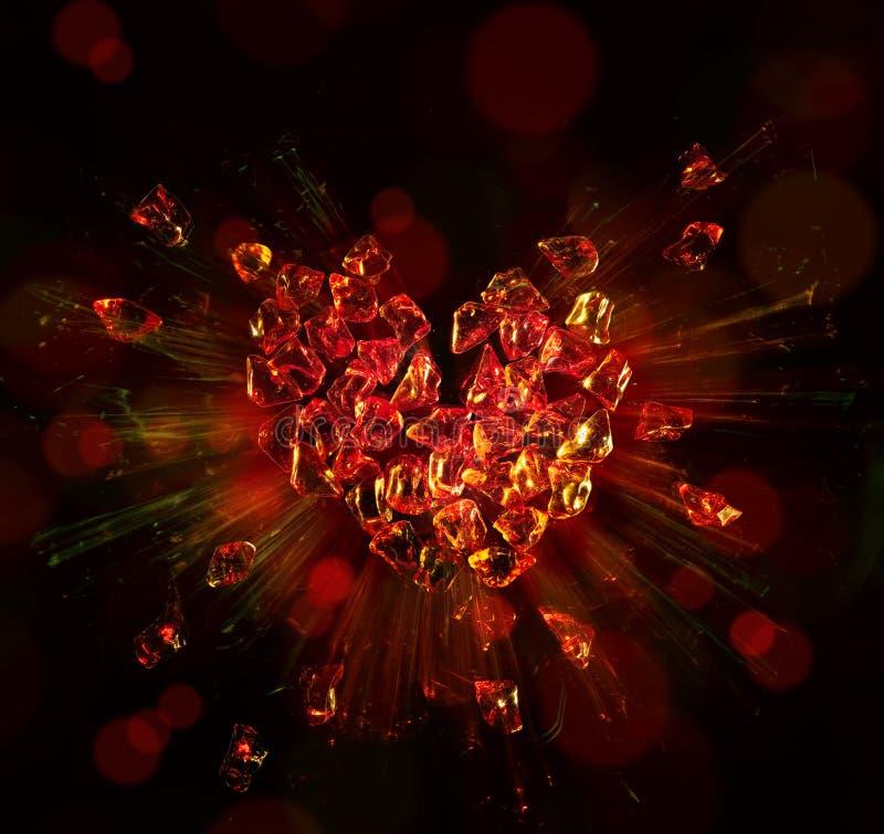 Corazón del arte roto en pedazos imagen de archivo libre de regalías