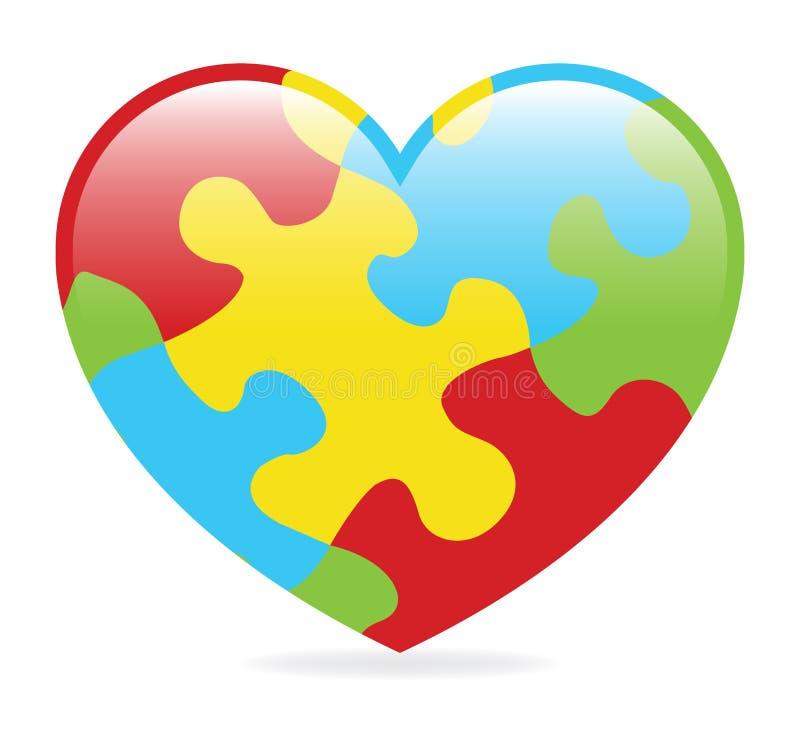 Corazón del autismo stock de ilustración