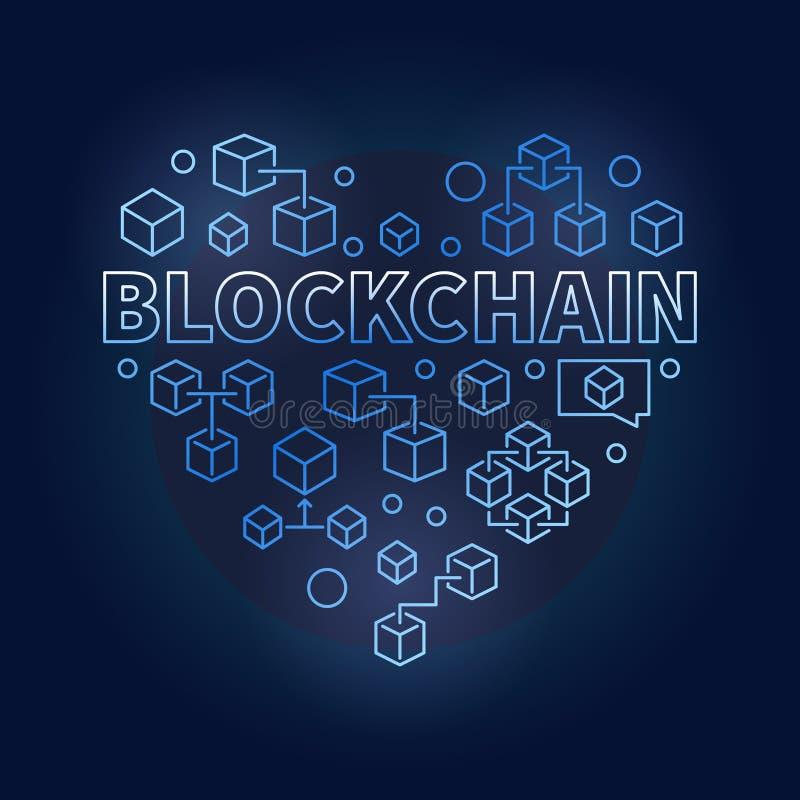 Corazón del azul de la tecnología de Blockchain Amo la muestra del vector de la cadena de bloque ilustración del vector