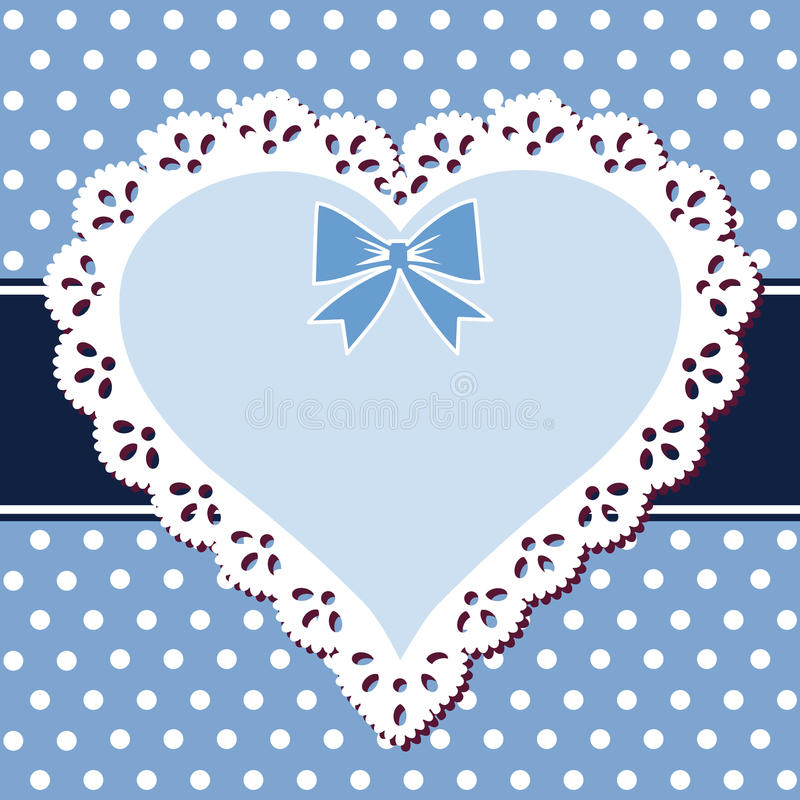 Corazón del azul del cordón stock de ilustración