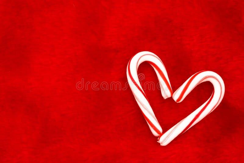 Corazón del bastón de caramelo imagen de archivo