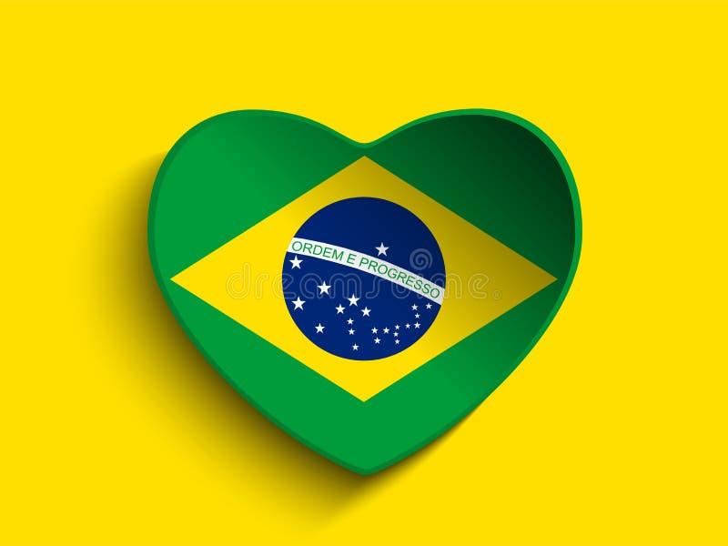 Corazón 2014 del Brasil con la bandera brasileña stock de ilustración