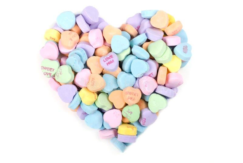 Corazón del caramelo de la tarjeta del día de San Valentín fotografía de archivo libre de regalías